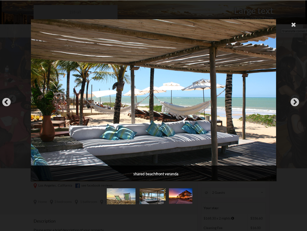 Vacation rental image gallery website